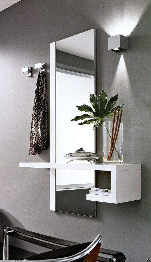 dettagli su 1 mobile ingresso moderno alba specchio e