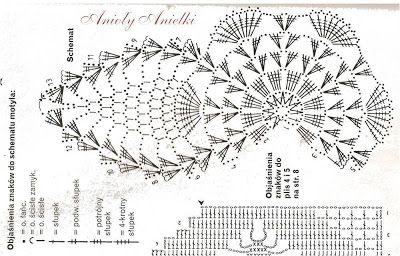 Anioły Anielki: Motyl na szydełku - wzór, schemat