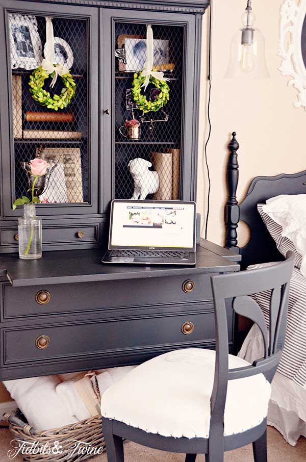 Guest Bedroom Before & After with Craigslist Furniture :: Hometalk love the refinished hutch with memories tucked inside, and  the small wreaths add such French country look.