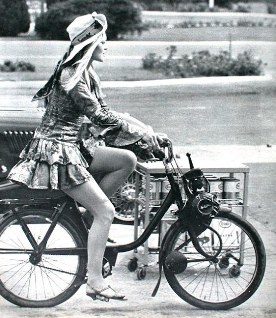 1970 BB riding her Solex
