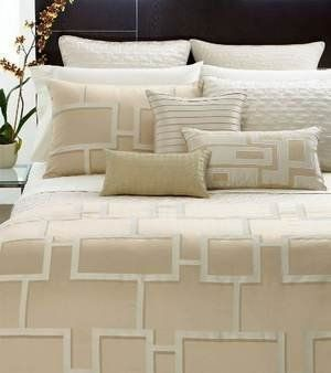 """Hotel Collection Bedding, Maze Full Queen Duvet Cover NEW by Hotel Collection. $220.00. Bedding. Hotel Collection Duvet Cover. Discover a new dreamscape. A striking abstract motif teams with a serene hue, suffusing your space with an undeniably modern sensibility. Button closure. Includes: One Hotel Collection Maze Full Queen Duvet Cover ONLY 90"""" x 96"""" Button Closure Cotton/Poly/Rayon Color: Pale Gold Ex Display New in Open Package"""