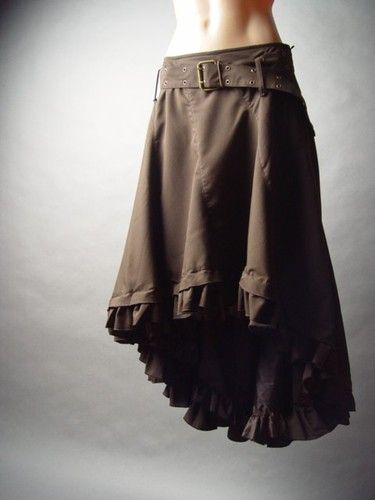 Western Steampunk Victorian Prairie Riding Long Tail Hem Petticoat FP Skirt M | eBayIts petticoat-style ruffled hemline features an asymmetric high-low structure, trailing long at the back.  Belt at waist lends rugged appeal to its distinctly feminine silhouette.  Flaring A-line shape.  Hook-and-eye and hidden zipper closure.  Fully lined.
