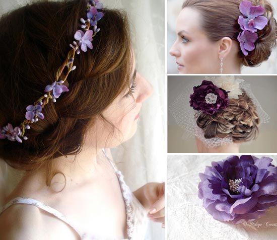 11 hochzeit lila brautschleife haar schmuck Lila Hochzeit Inspiration – Tischdeko, einladungen etc.