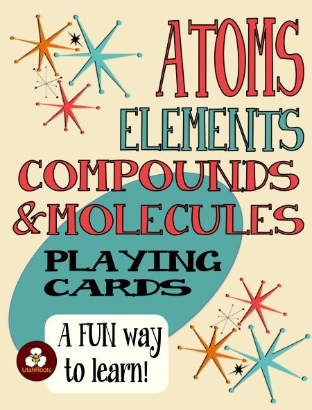 64 Playing Cards to practice basic chemistry vocabulary with practice identifying examples of atoms, elements, compounds, molecules, chemical formulas, chemical symbols, and chemical equations.  For beginning chemistry students.