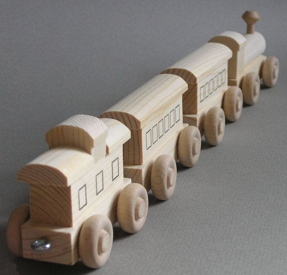 Wooden Toy Train.  Wood Passenger Train.  A handmade toy.  A natural wood toy.