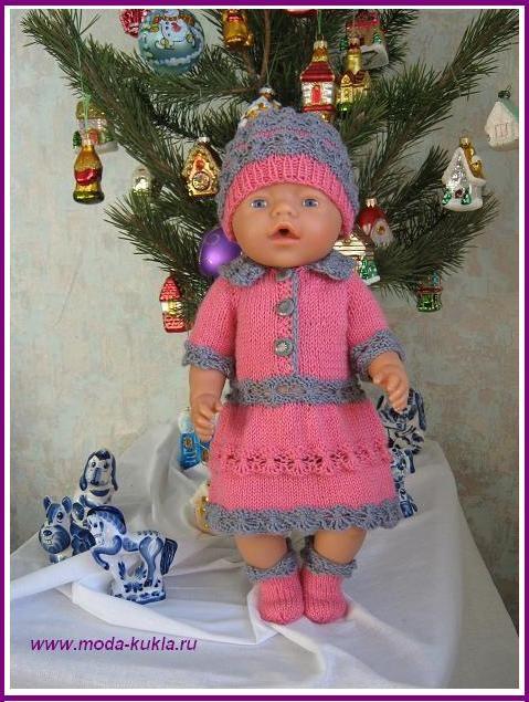 """Платье, шапочка и носочки на куклу BABY BORN с узором """"паучки"""" - http://www.moda-kukla.ru/index.php?option=com_content&view=article&id=106:-baby-born-qq&catid=8:knitting1"""