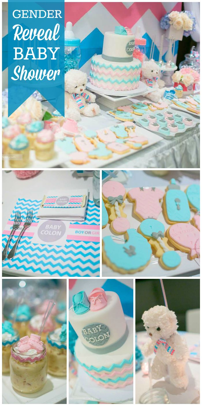 A Pink and Blue Chevron Themed Gender Reveal Party in pastels with cute cookies and decorations!  See more party planning ideas at CatchMyParty.com!