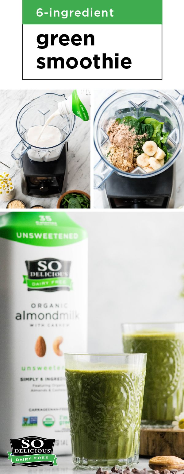 Ideal for busy mornings, this tasty combination of So Delicious Organic Unsweetened Almondmilk, chocolate protein powder, cocoa powder, peanut butter, frozen banana, and spinach is one smoothie worth waking up for! Check out the full 6-Ingredient Green Smoothie recipe to see how simple this nutrient-packed creation is to make for breakfast. Pick up everything you'll need from Kroger or your local Kroger banner store to get started!