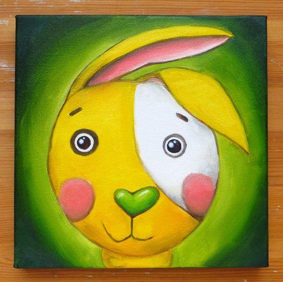 Yellow Rabbit Original Art Animals Hand Painted by MikiMayoShop