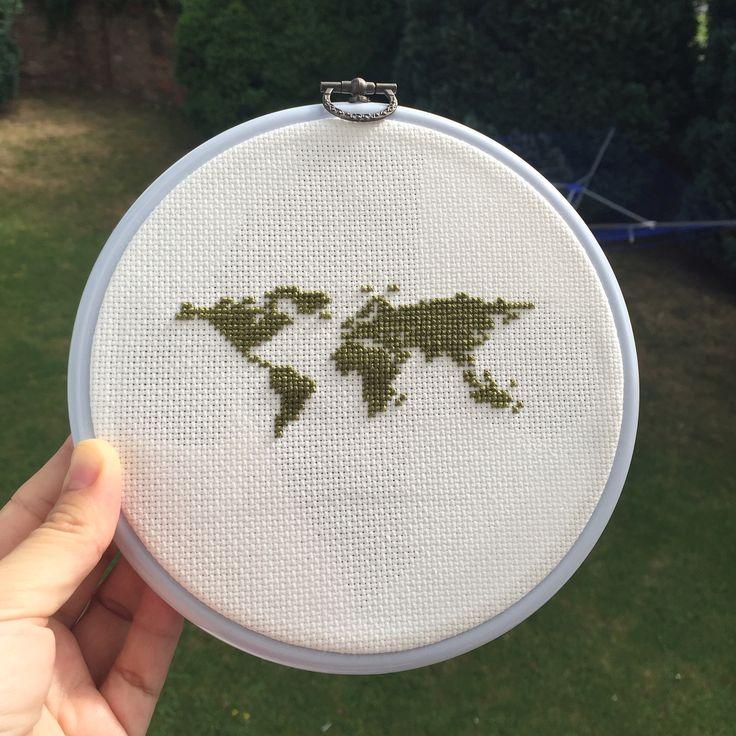 Wold map cross stitch