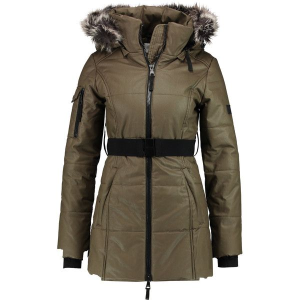 W118 by Walter Baker - Kim Faux Fur-trimmed Coated Cotton Hooded Coat ($179) ❤ liked on Polyvore featuring outerwear, coats, army green, chiffon coat, leather-sleeve coats, zip coat, w118 by walter baker and faux fur trim coats