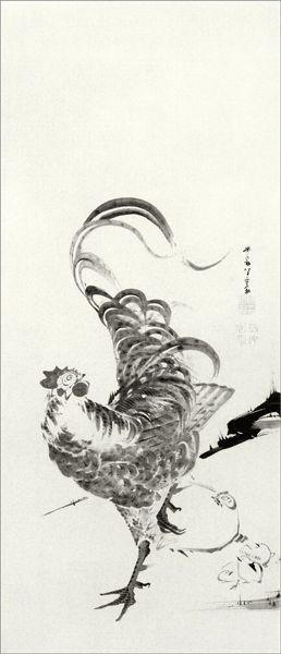 【DM便可】 コロタイプ長型はがき 〈群鶏図押絵貼屏風(部分)〉 伊藤若冲筆