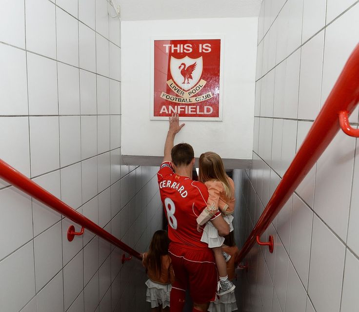 Steven Gerrard of Liverpool touches the famous sign before the Barclays Premier League match between Liverpool and Crystal Palace at Anfield (Photo by John Powell/Liverpool FC via Getty Images)