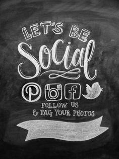 Let's Be Social Follow Us Social Media Sign Boutique Retail Fashion Store Pinterest Facebook Instagram Twitter Hashtag Custom