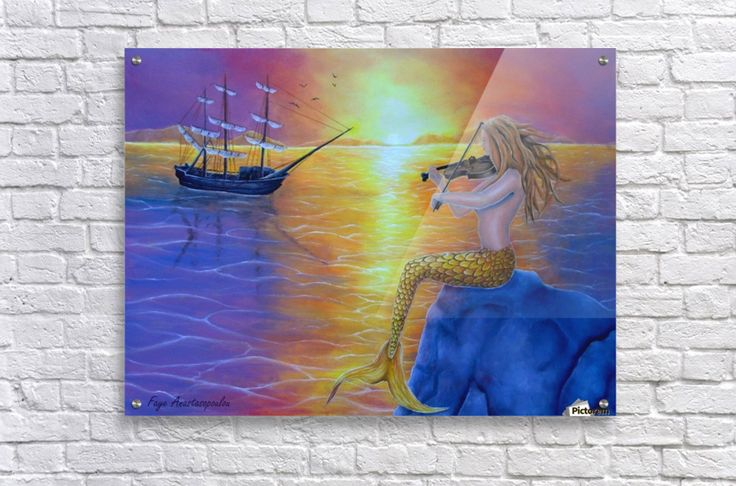 Acrylic Print, for sale, mermaid, ocean, scene, seascape, sunset, mythical, mythological, magical, aquatic, creature, fish, feminine, nude, violin, fiddle, playing, music, sitting, on rock, sailboat, ship, marine, nautical, water, legendary, sunlight, atmospheric, bright,  fantasy, long, hair, dreamscape, imagination, vivid, purple, colorful, beautiful, cool, imaginary realism, figurative, painting, fine, oil, art, images, decor, items, ideas, pictorem