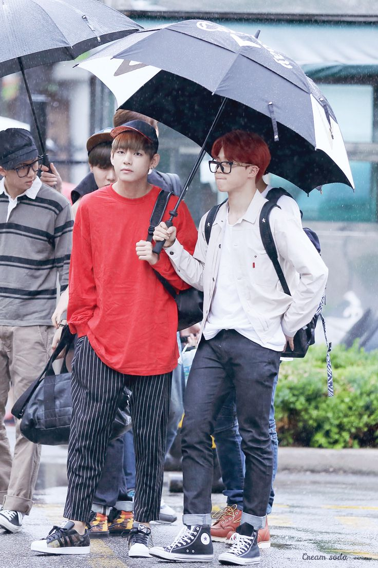 BTS V and Jimin fashion going to Music Bank [150626 ...