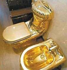 """1/2 Million Dollar Toilet - Park your glutes on this throne and you may never be the same.   Called """"Moscow"""", the gold plated toilet was displayed in Russia and pric..."""