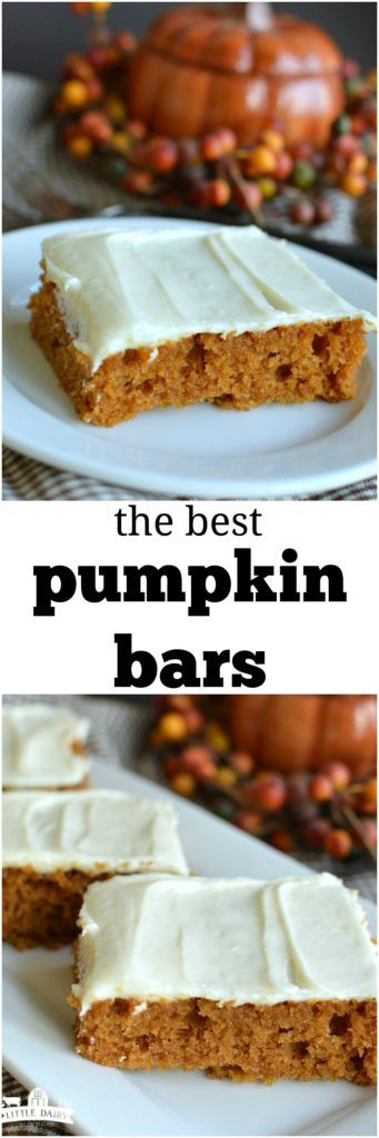 The Best Pumpkin Bars are super moist, filled warm spices, and are slathered with cream cheese frosting! This recipe makes a half sheet pan too, so it's perfect for sharing!