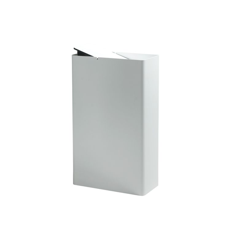P-DREI Waste Bin // White Powdered Coat (Small, White Lid)