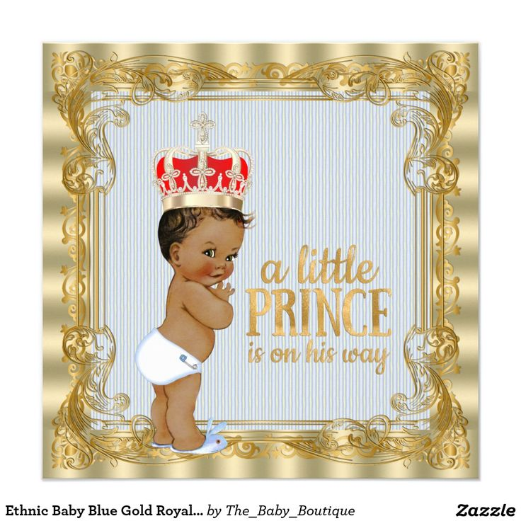 Ethnic Baby Blue Gold Royal Prince Baby Shower 5.25x5.25 Square Paper Invitation Card