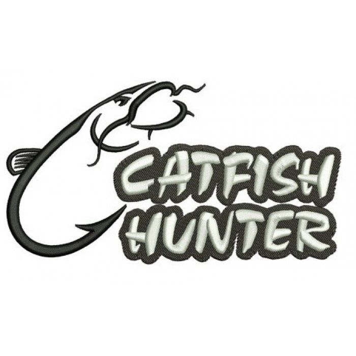 Catfish Hunter Fishing and Hunting Machine Embroidery Digitized Design Pattern- Instant Download - 4x4 ,5x7,6x10