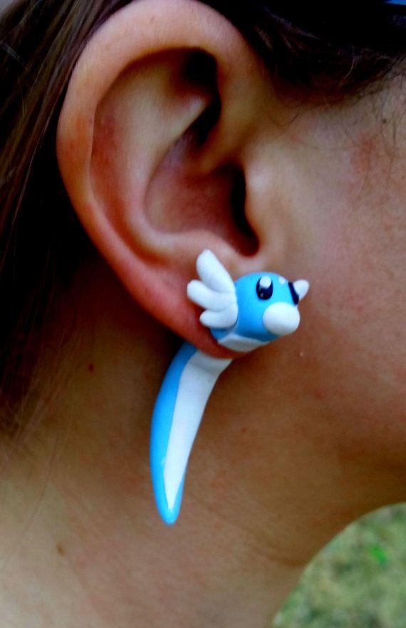Dratini Pokemon Fake Gauge Earrings by AFKforCosplay on Etsy