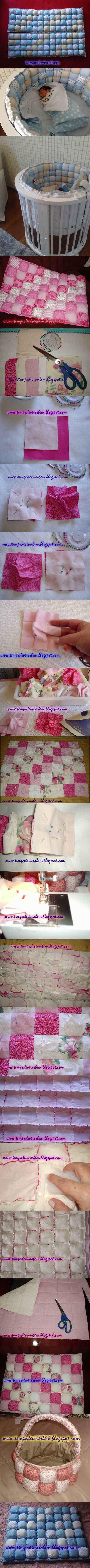 DIY Patchwork Baby Sleeping Basket Bumper | iCreativeIdeas.com Follow Us on Facebook --> https://www.facebook.com/icreativeideas