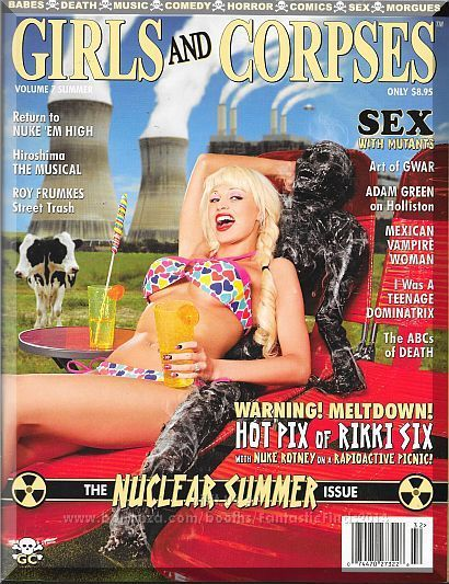 NUCLEAR SUMMER issue sizzles with Atomic Bombshell RIKKI SIX on a picnic at Three Mile Island with her radiated mutant BFF NUKE ROTNEY. Only $13.00.