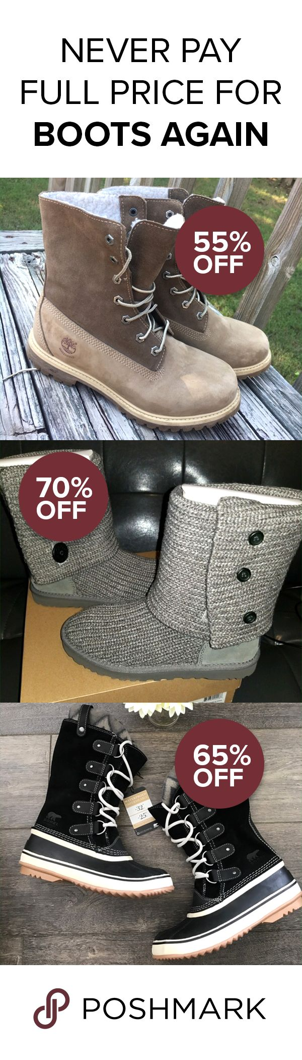 Shop Sorel, Uggs, Timberlands and other winter boots at up to 90% off on Poshmark! Buyer protection guaranteed. Download the free app and start shopping!
