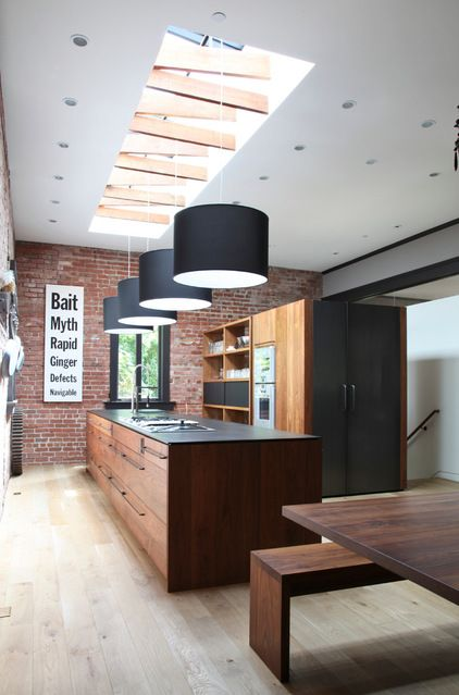 Exposed brick and skylights