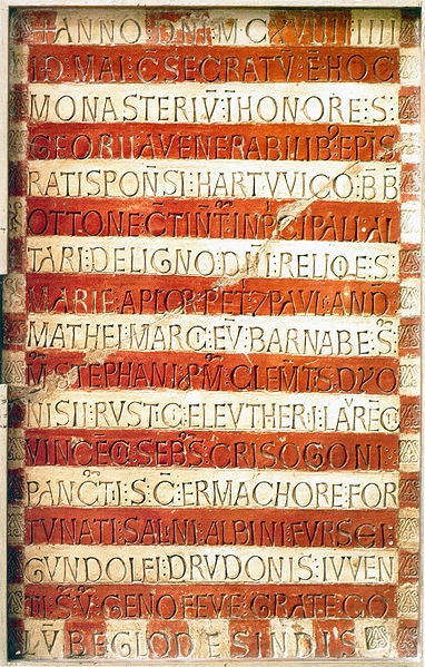 The high medieval Prüfening dedicatory inscription, composed in Latin and stamped in Roman square capitals