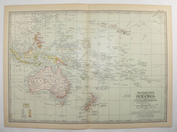 Antique Oceanica Map Vintage Polynesia Australia Map 1899 Travel Map Unique Christmas Gift Under 20 Gift for Home Office Anniversary by OldMapsandPrints on Etsy