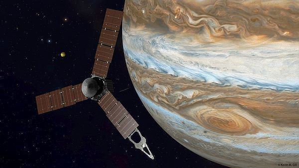 Juno Jüpiter'e Ulaştı: 10 resimde Juno seferi  NASA'nın #Juno sondası 4 Temmuzda Jüpiter yörüngesine giriyor. 5 yıllık yolculuktan sonra hedefine ulaşan Juno, Güneş Sistemi'nin en büyük gezegeni olan #Jüpiter'in içyapısını inceleyecek ve merkezinde kayalık bir çekirdek ile karanlık hidrojen olup olmadığına bakacak. 10 resimde görelim.