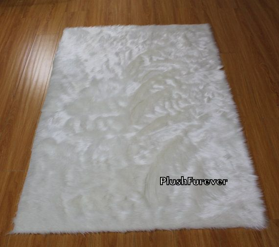 faux fur rug 5u0027 x 7u0027 feet ivory white faux fur rug