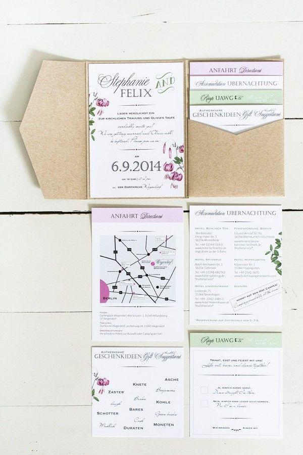 Anmut und Sinn » Dekoration, Floristik, Papeterie, Design » Boho-Style Papeterie, Pocket Einladung