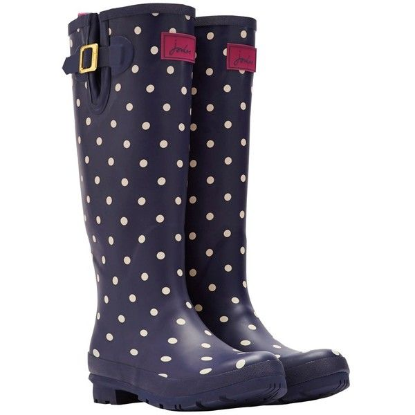 Joules Printed Rubber Wellington Boots ($66) ❤ liked on Polyvore featuring shoes, boots, navy spot, rain boots, rubber rain boots, joules boots, dot rain boots and navy blue boots