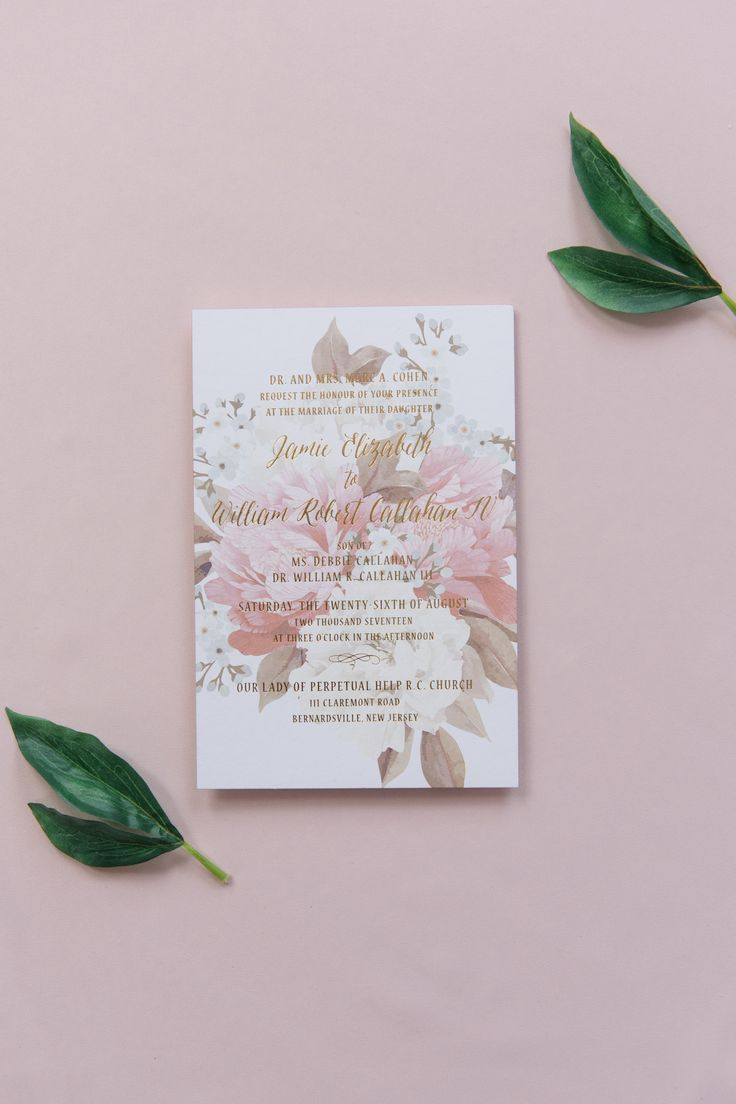 addressing wedding invitations married woman doctor%0A Custom blush floral wedding invitation with gold foil text
