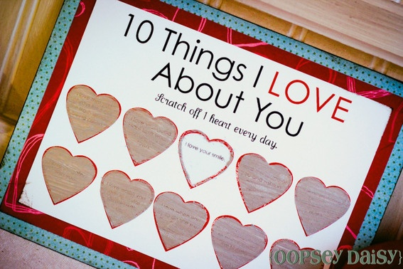 Love this idea for Valentines or for your anniversary!  Instead of a scratch off card you can make the hearts open up (like a Advent Calendar)! I think I'm going to try this this year!