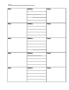 Graphic organizer I use to help students learn new vocabulary words.  Students write the word and a short definition, and then draw a picture that will help them remember the meaning or context of the word.  Especially helpful with ELL or Special Education students who benefit from visual cues, but can be beneficial for all students.There is space for 5 vocab words per page.
