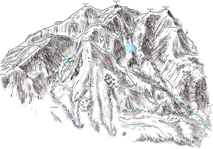 A personal favourite from my Etsy shop https://www.etsy.com/uk/listing/546637399/line-illustration-of-the-coniston-fells