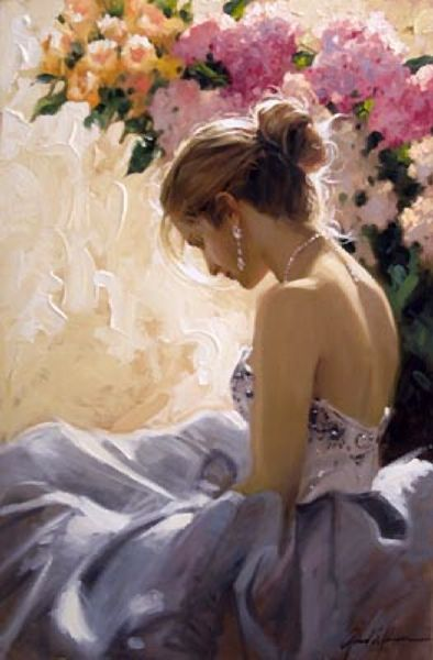 The Bare Shoulder by Richard Johnson (oil on canvas 36in x 24in). I wonder what she is thinking - is she happy or not?