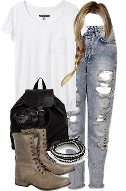 teenwolfmtvstyle:  Malia Inspired Orientation Outfit with a White Tee by veterization featuring t shirts Rag bone t shirt / Topshop boyfriend jeans / Steve Madden combat boots, $90 / Pull Bear backpacks bag, $22 / Leather bracelet, $65