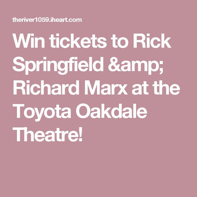 Win tickets to Rick Springfield & Richard Marx at the Toyota Oakdale Theatre!