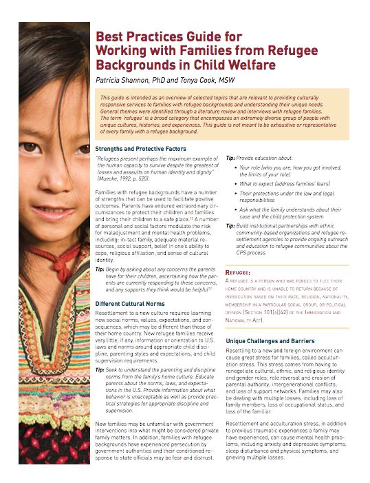 Best Practices Guide for Working with Families from Refugee Backgrounds in Child Welfare