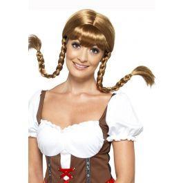 Deze bruine Heidi pruik heeft de twee typische bruine lange vlechten van een Tiroler / Duitse bier dame. De pruik heeft een scheiding in het midden en de lange vlechten beginnen ter hoogte van de oren en is geproduceerd door Smiffy's. Leuke aanvulling op een Heidi of Oktoberfest pakje.