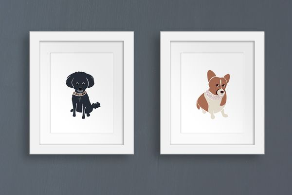 Framed custom pet portraits of Watson the Poodle Mix and Angie the Corgi | oxforddogma.com
