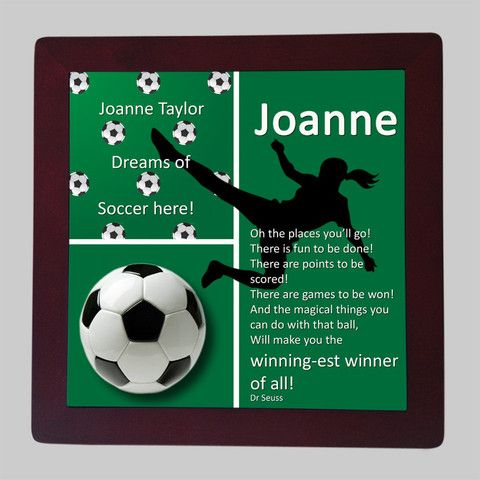 Personalised Framed Tile, Children's Room Sign, Soccer Green Girl