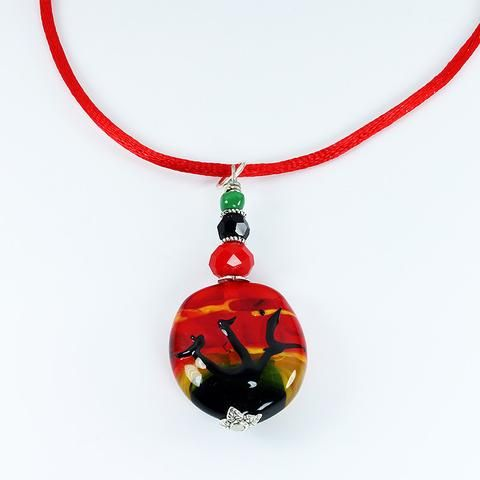 Murano Glass hand crafted pendant AFRICAN SUNSET . Delicately lampworked so no two are identical. Quality Murano glass pendants are stunning. Every piece is unique and may differ slightly from the image displayed.