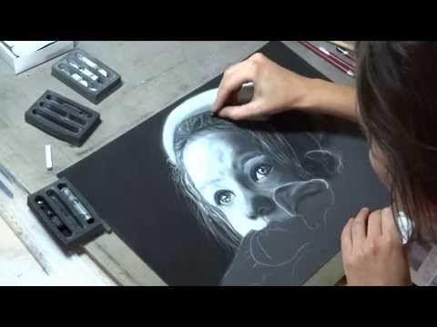 portrait pastel noir et blanc