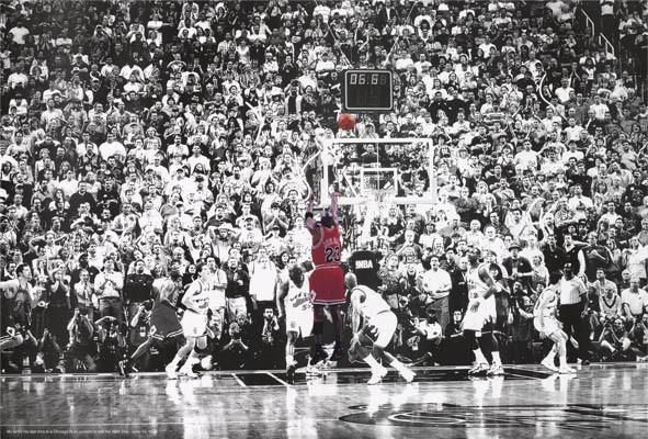 An amazing poster of a great moment in basketball history - Michael Jordan shoots the game-winning shot in the 1998 NBA Championship game! Ships fast. 24x36 inc